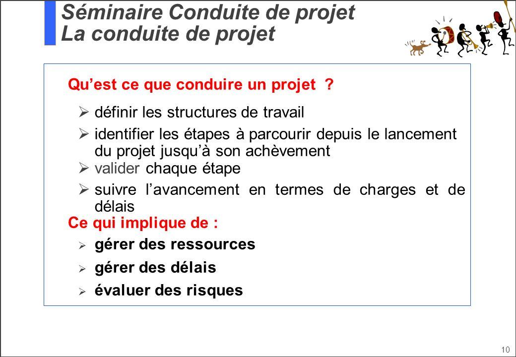 Séminaire Conduite de projet La conduite de projet