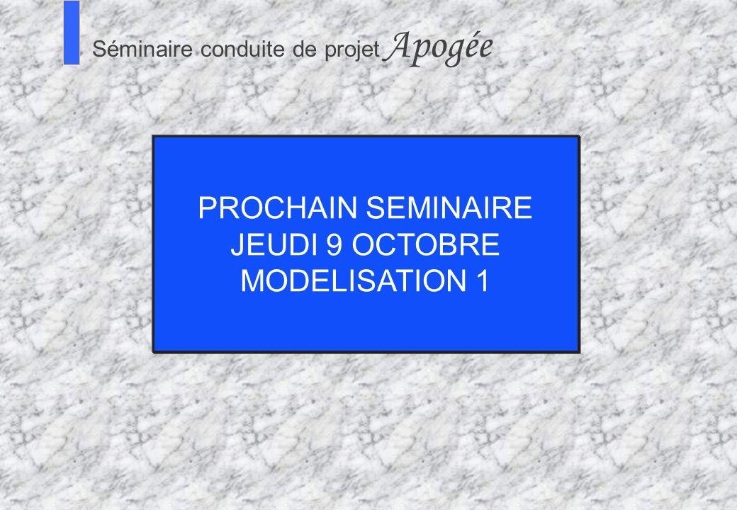 PROCHAIN SEMINAIRE JEUDI 9 OCTOBRE MODELISATION 1