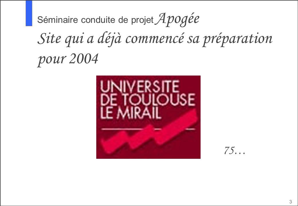 Séminaire conduite de projet Apogée Site qui a déjà commencé sa préparation pour 2004