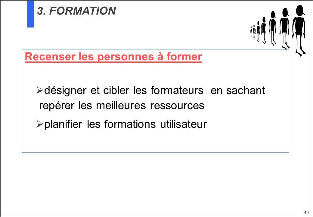 3. FORMATION Recenser les personnes à former. désigner et cibler les formateurs en sachant repérer les meilleures ressources.