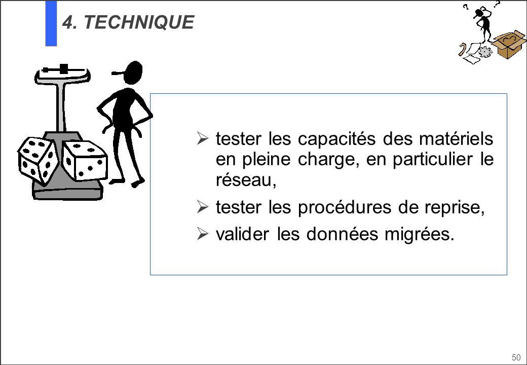 tester les procédures de reprise, valider les données migrées.