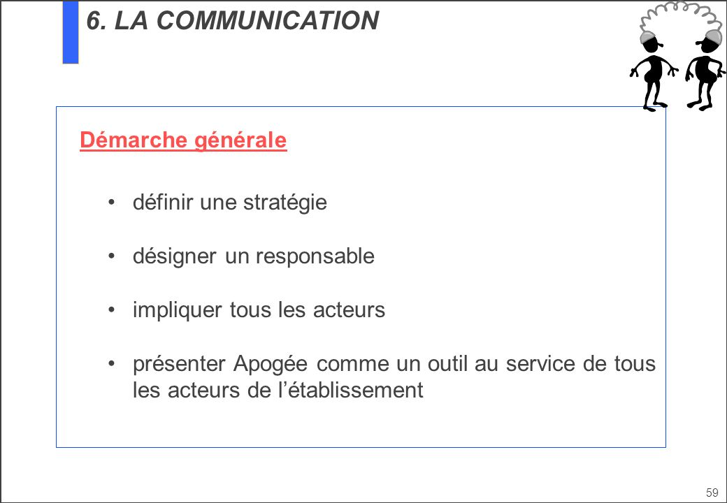 6. LA COMMUNICATION Démarche générale définir une stratégie