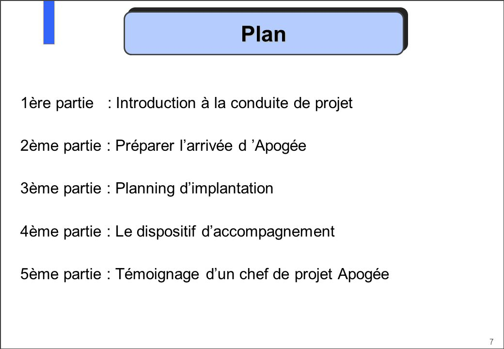 Plan 1ère partie : Introduction à la conduite de projet