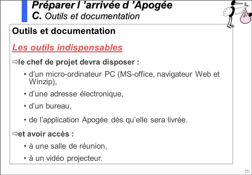 Préparer l 'arrivée d 'Apogée C. Outils et documentation