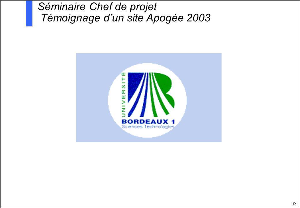 Séminaire Chef de projet Témoignage d'un site Apogée 2003