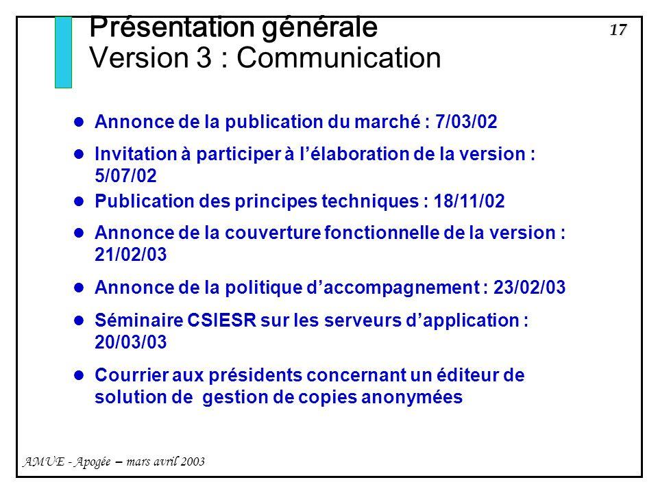 Présentation générale Version 3 : Communication