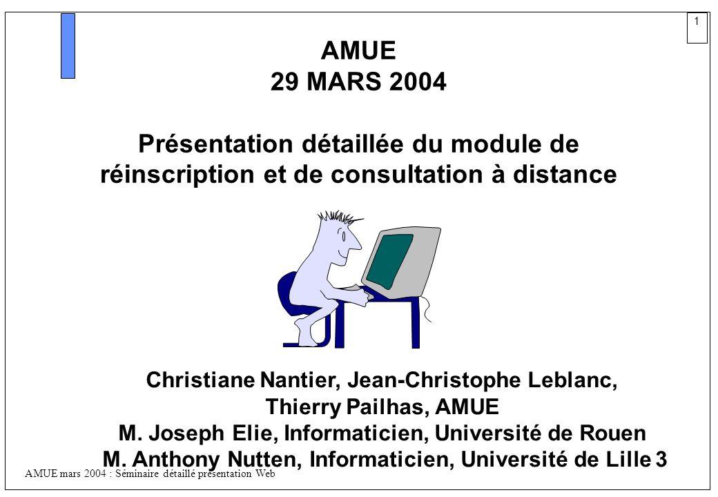 AMUE 29 MARS 2004. Présentation détaillée du module de réinscription et de consultation à distance.