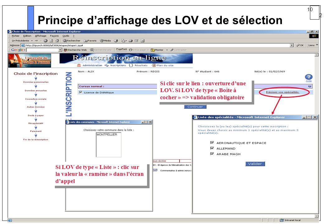 Principe d'affichage des LOV et de sélection