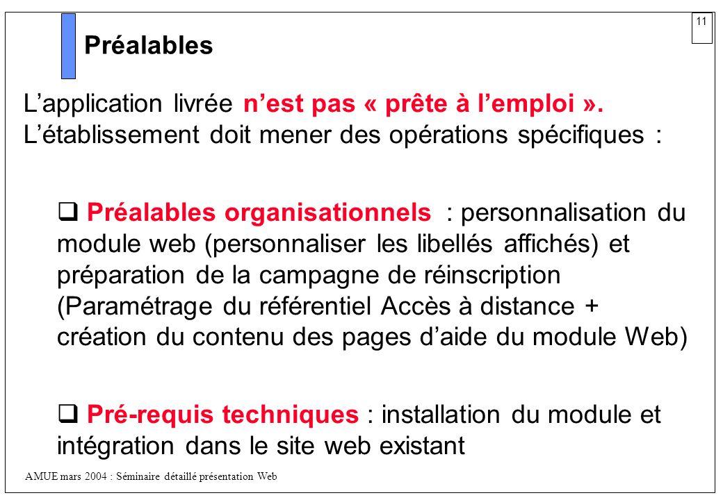 PréalablesL'application livrée n'est pas « prête à l'emploi ». L'établissement doit mener des opérations spécifiques :