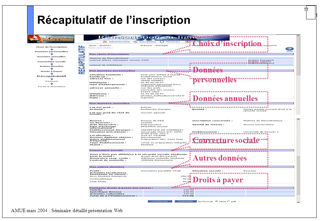Récapitulatif de l'inscription