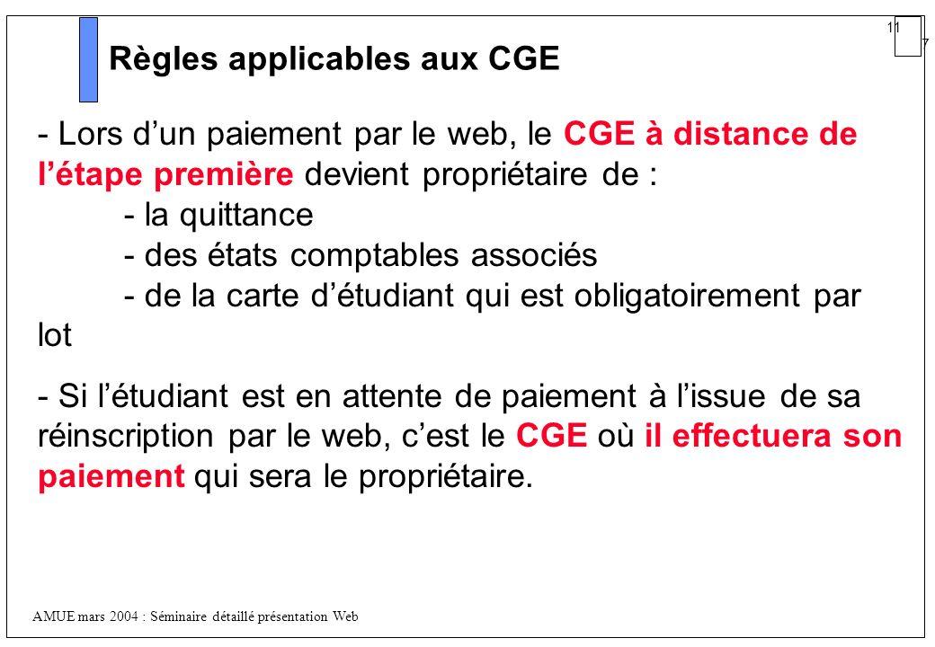 Règles applicables aux CGE