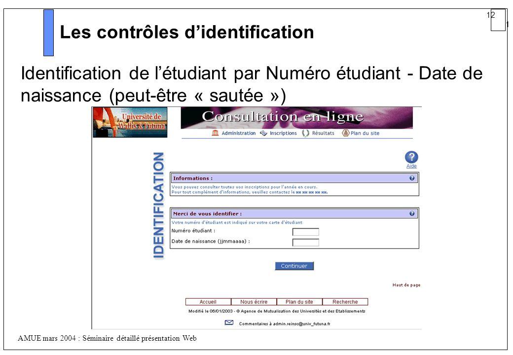 Les contrôles d'identification