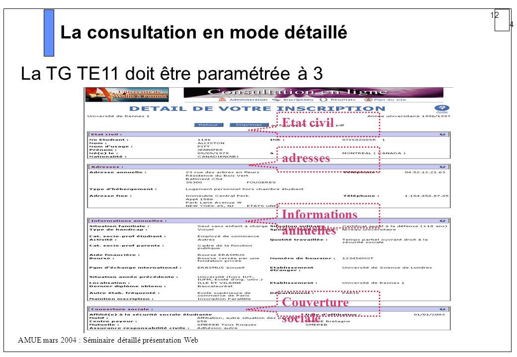 La consultation en mode détaillé