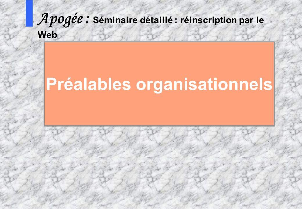 Préalables organisationnels