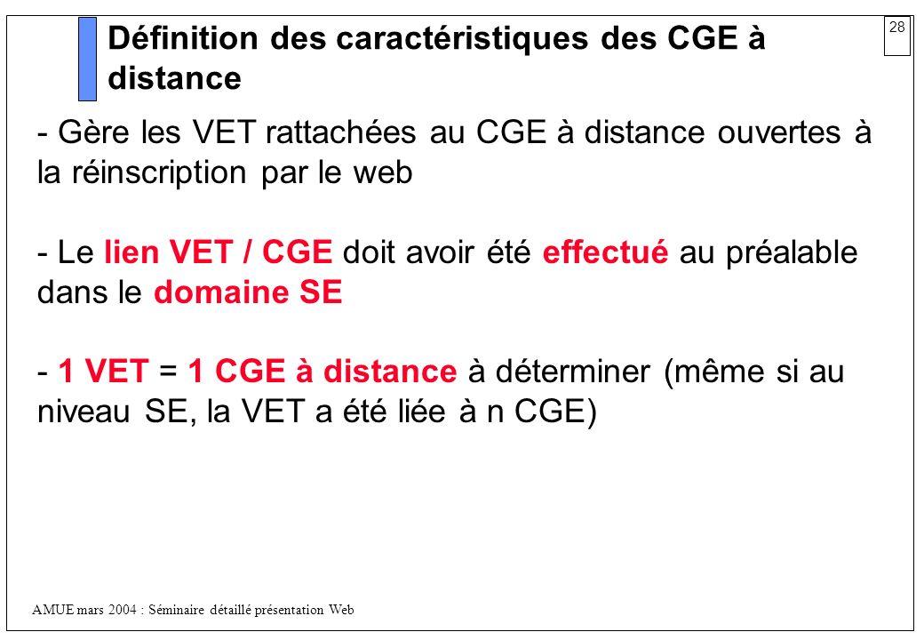 Définition des caractéristiques des CGE à distance