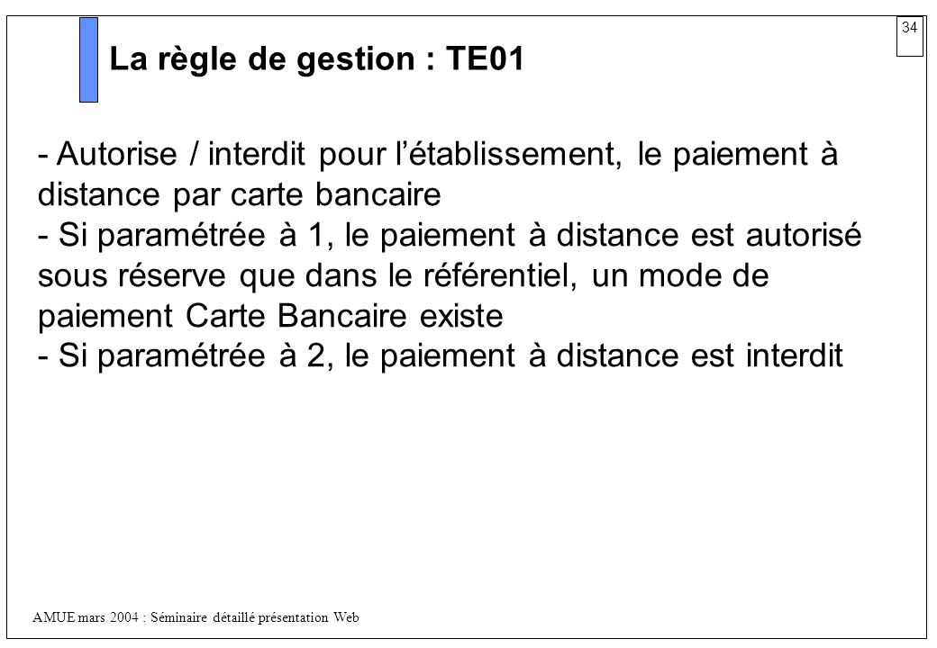 La règle de gestion : TE01