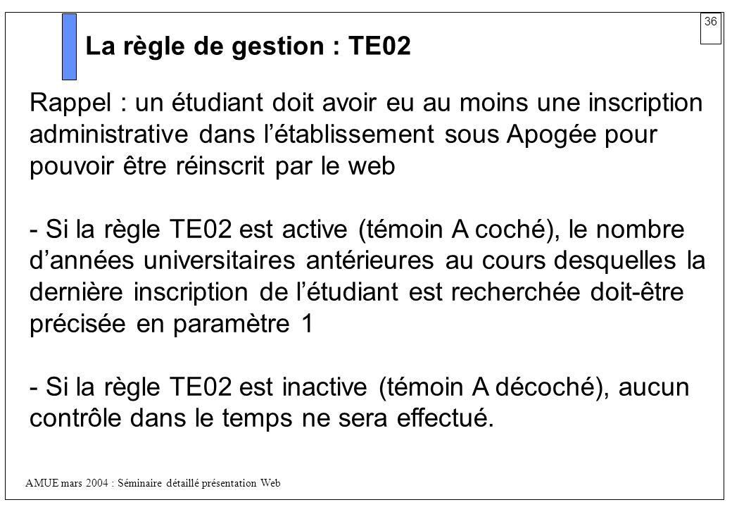 La règle de gestion : TE02