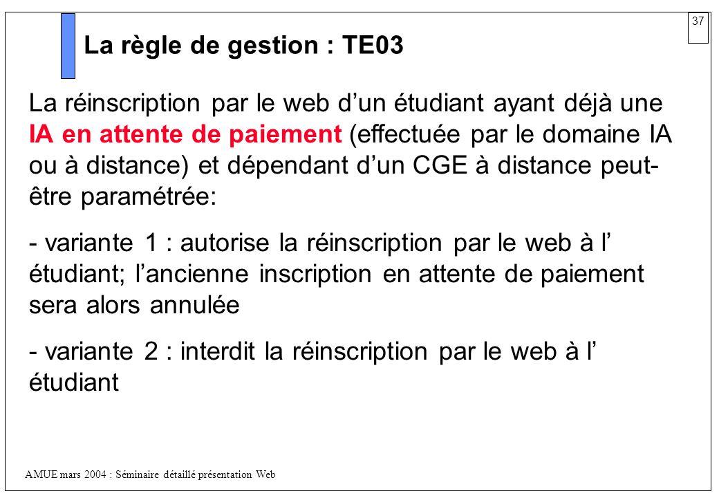 La règle de gestion : TE03