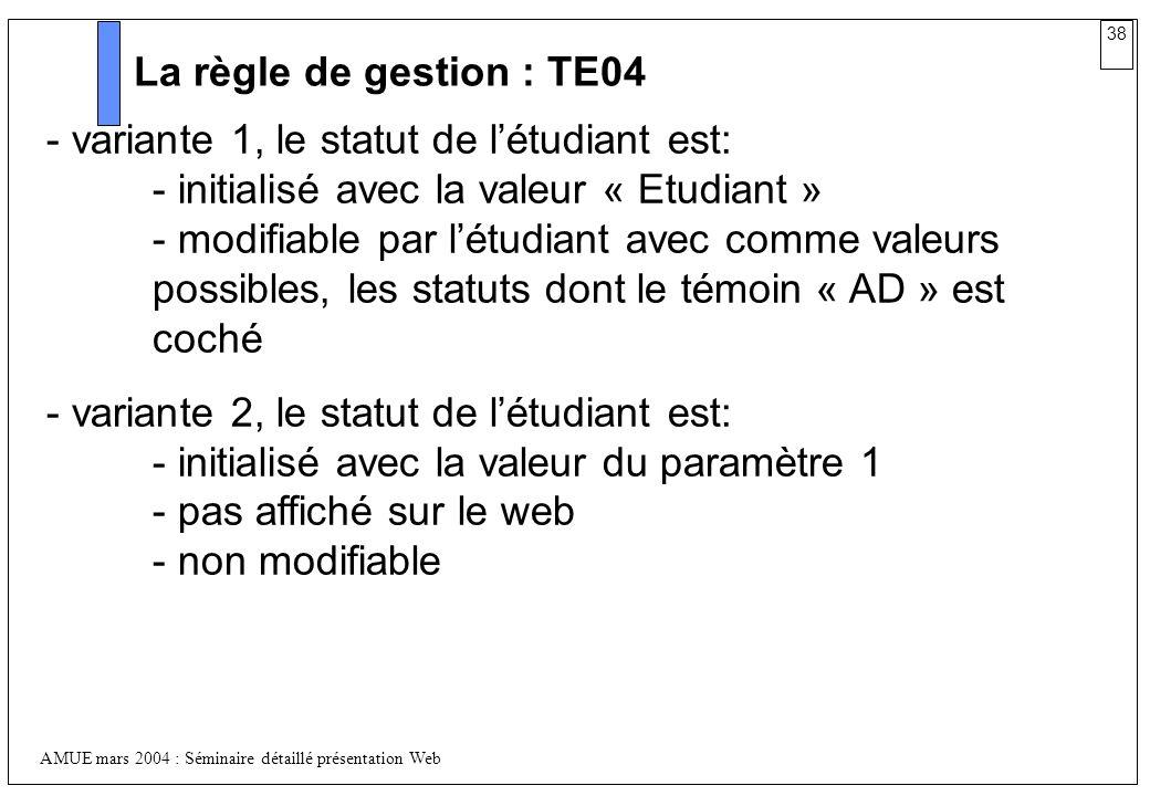 La règle de gestion : TE04