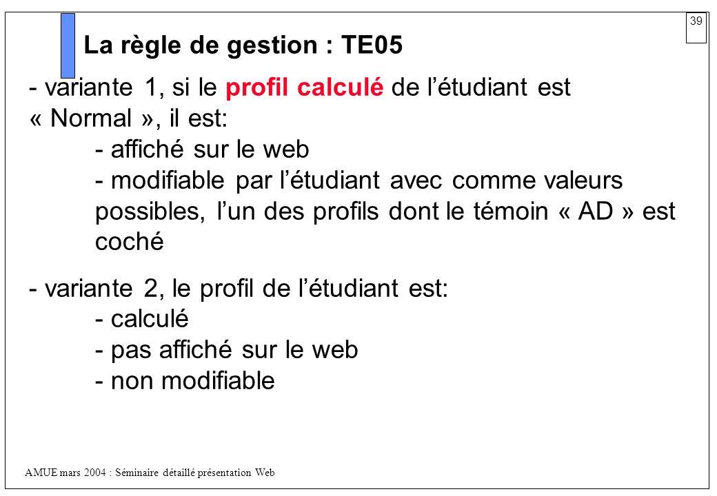 La règle de gestion : TE05