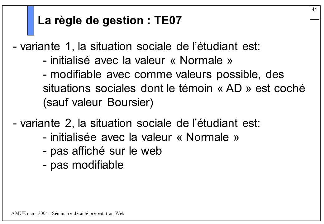 La règle de gestion : TE07