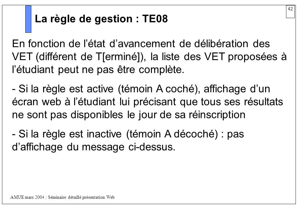 La règle de gestion : TE08