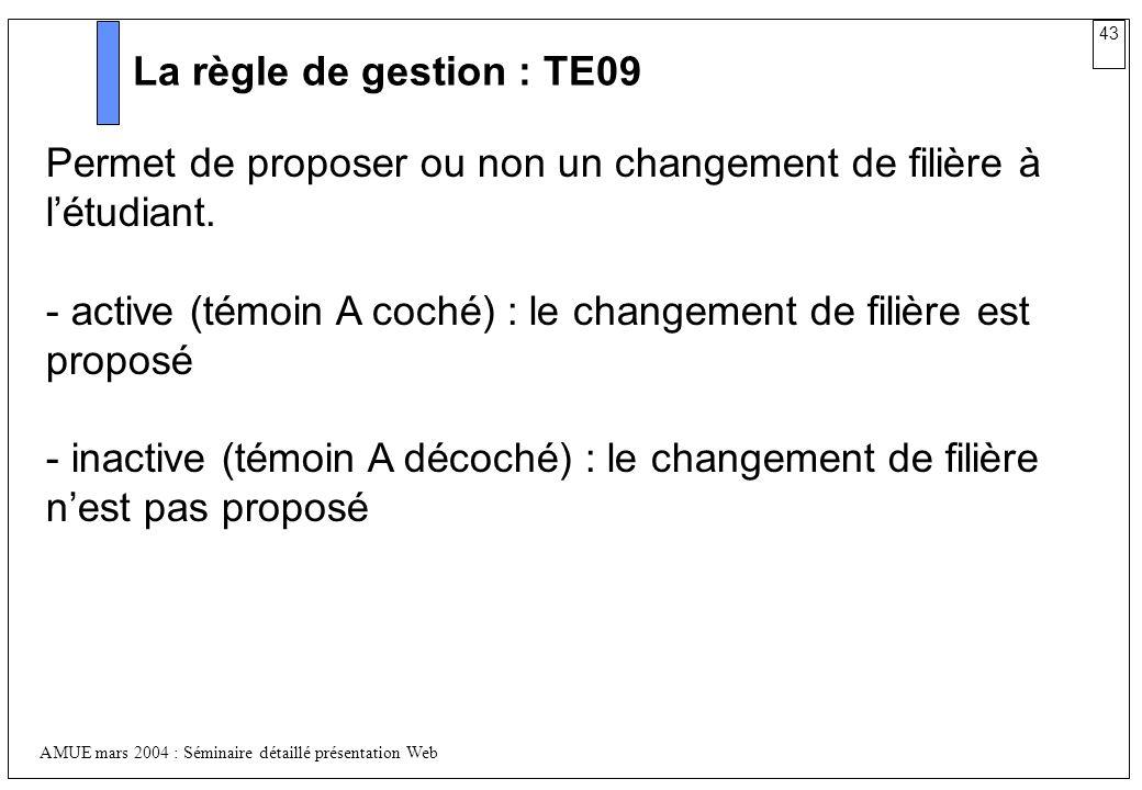 La règle de gestion : TE09