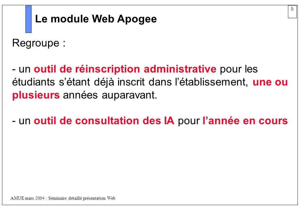 Le module Web Apogee