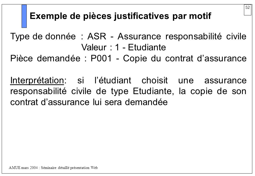 Exemple de pièces justificatives par motif
