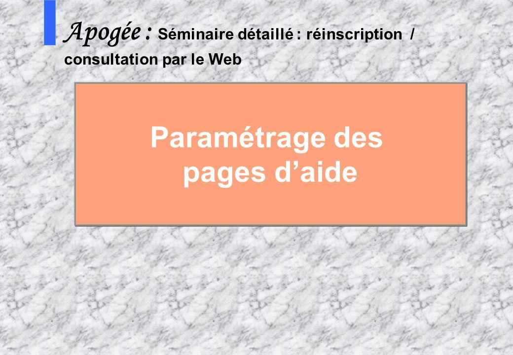 Paramétrage des pages d'aide