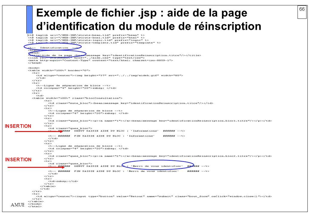 Exemple de fichier .jsp : aide de la page d'identification du module de réinscription