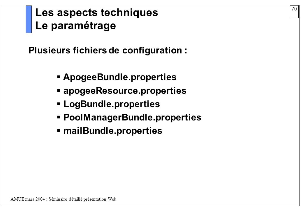 Les aspects techniques Le paramétrage
