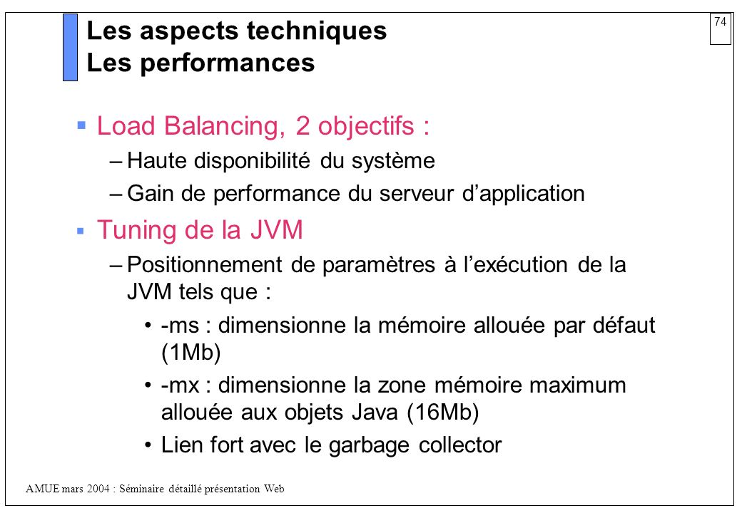 Les aspects techniques Les performances
