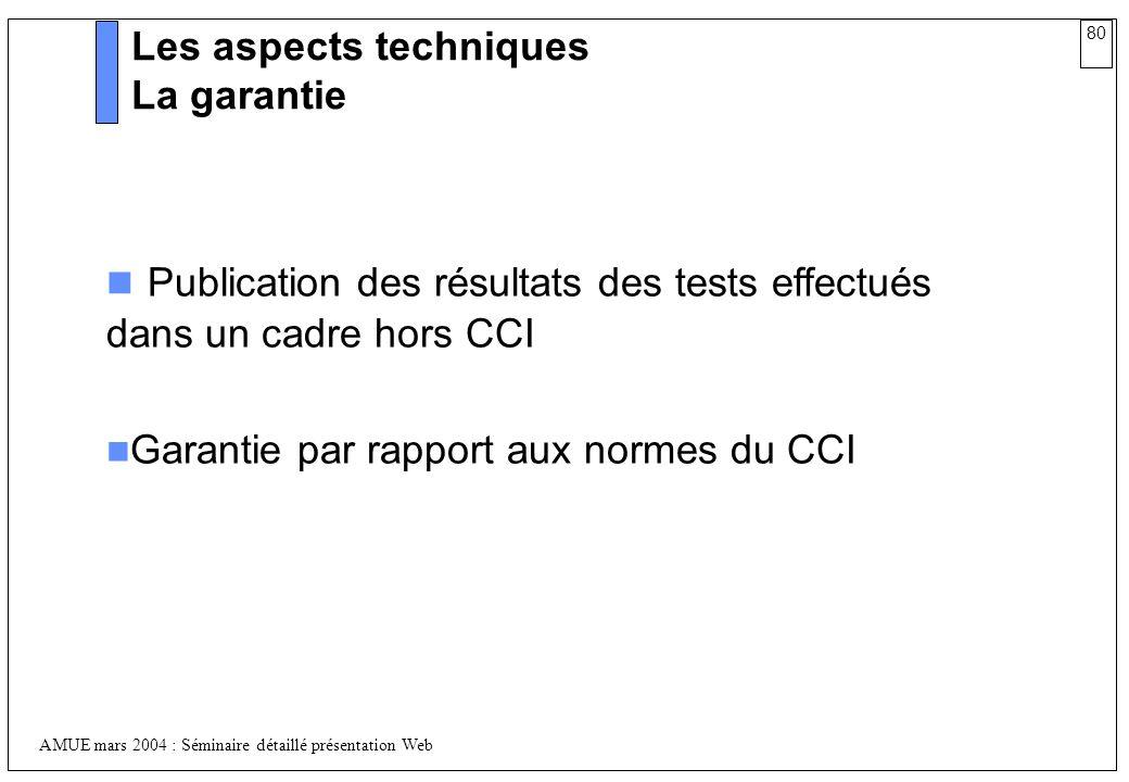 Publication des résultats des tests effectués dans un cadre hors CCI