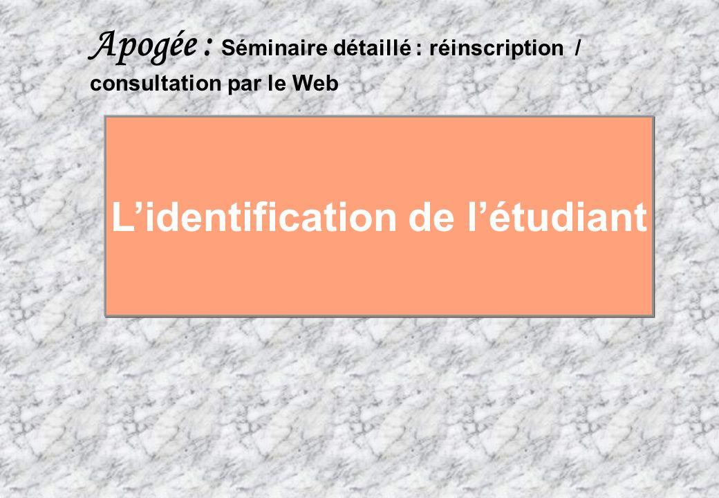 L'identification de l'étudiant