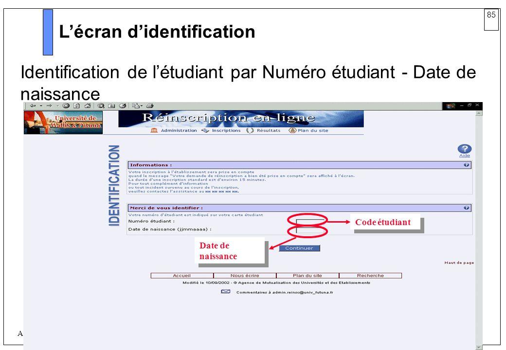 L'écran d'identification