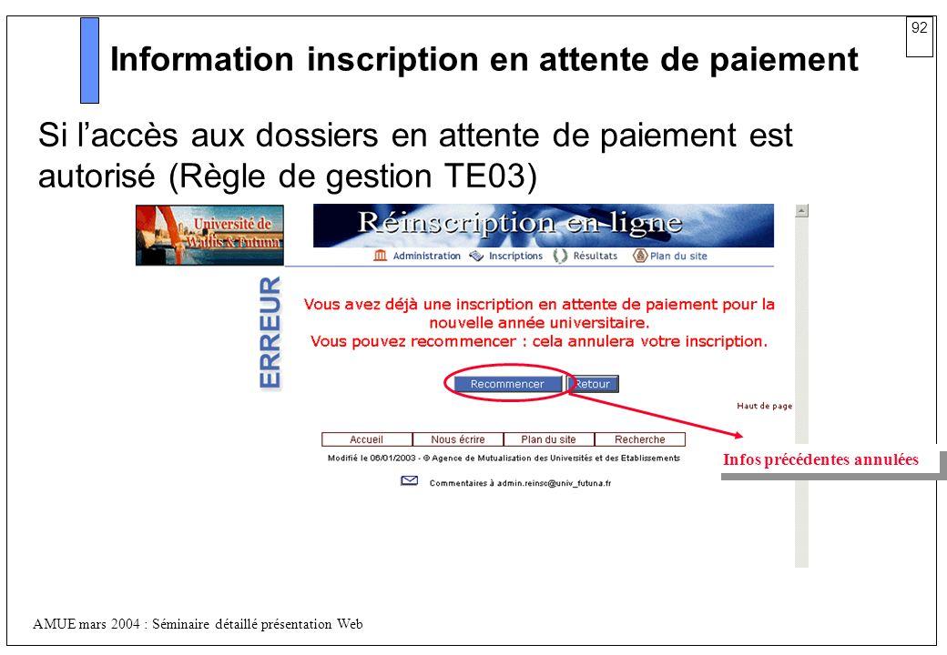Information inscription en attente de paiement
