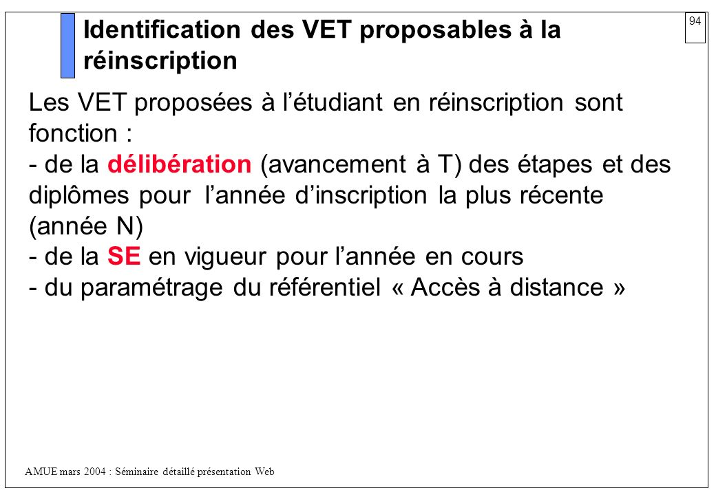 Identification des VET proposables à la réinscription