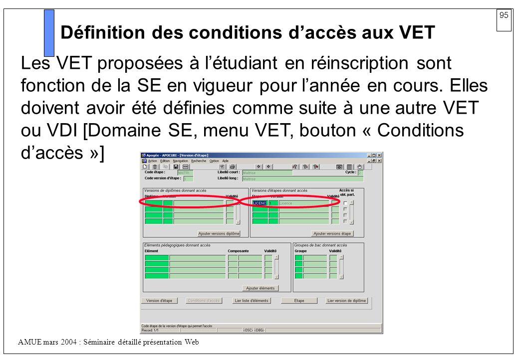 Définition des conditions d'accès aux VET