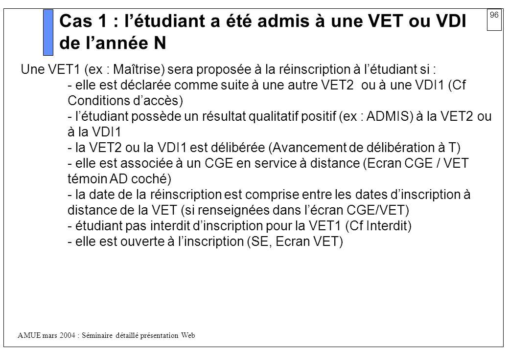 Cas 1 : l'étudiant a été admis à une VET ou VDI de l'année N