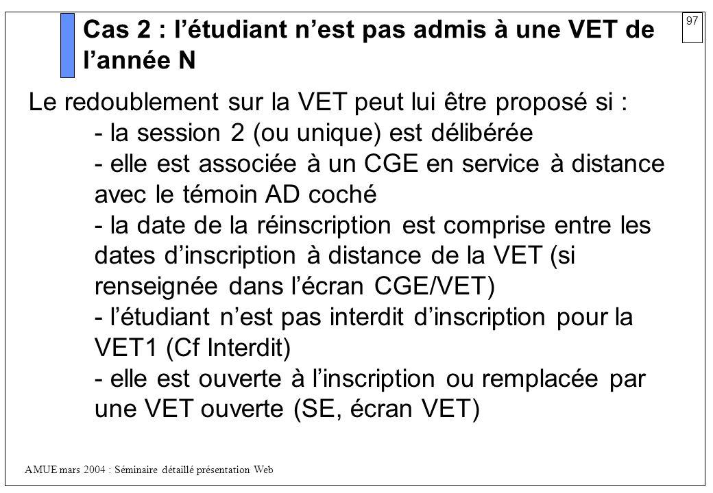 Cas 2 : l'étudiant n'est pas admis à une VET de l'année N