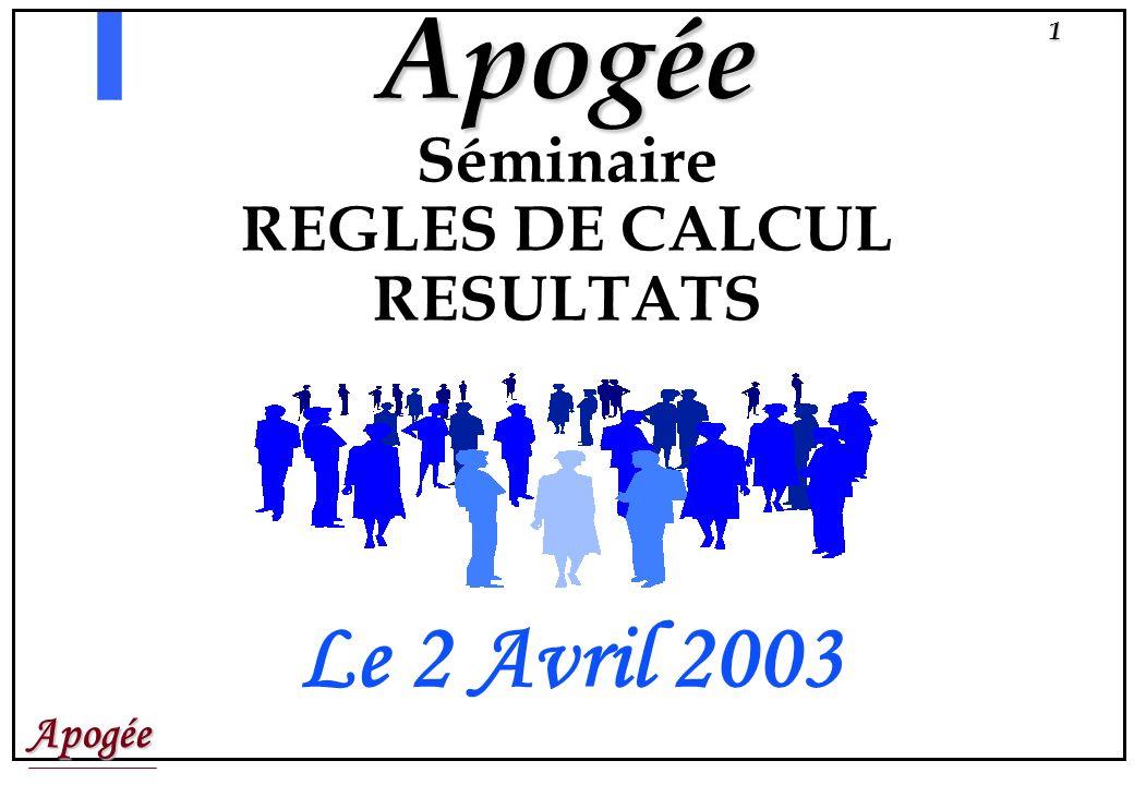 Apogée Séminaire REGLES DE CALCUL RESULTATS Le 2 Avril 2003