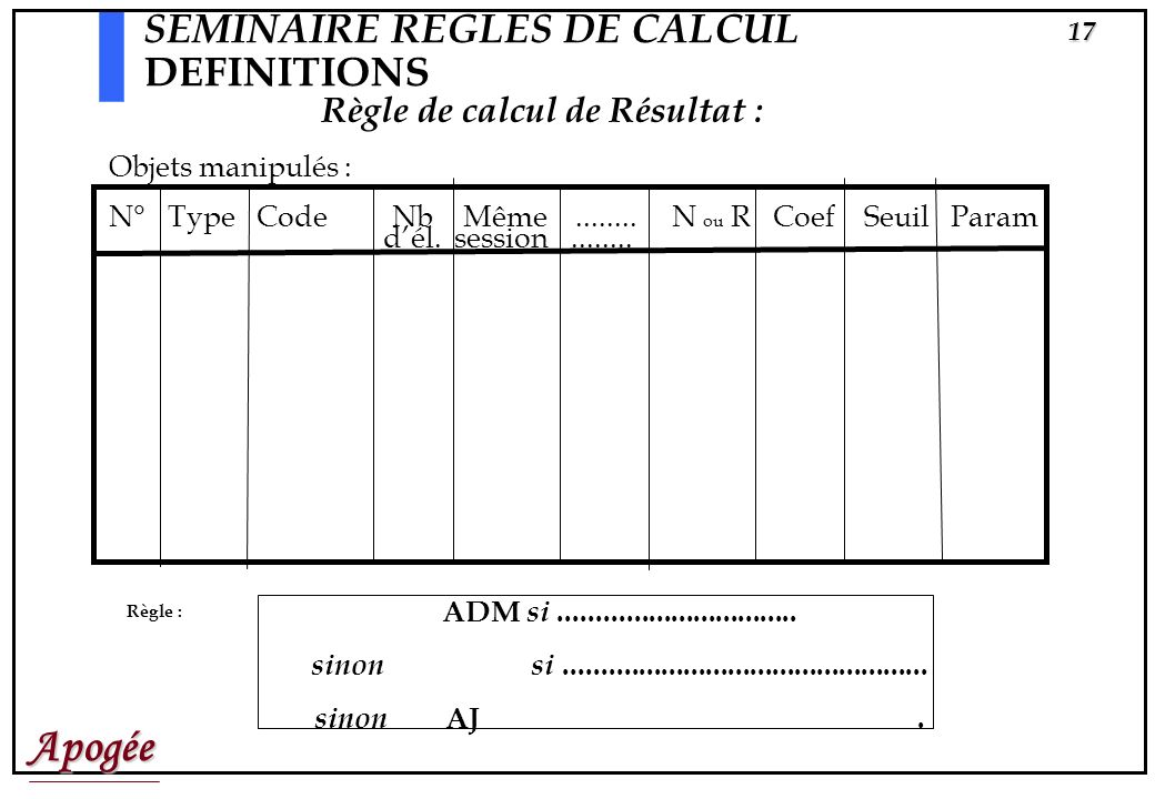 SEMINAIRE REGLES DE CALCUL DEFINITIONS