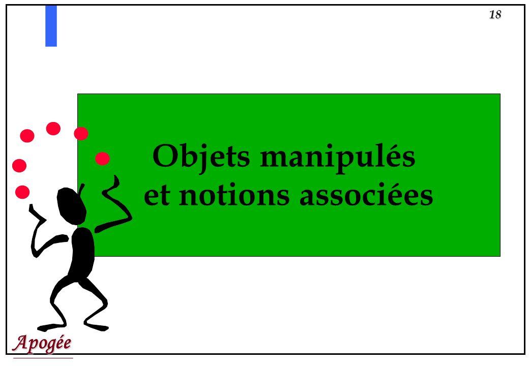 Objets manipulés et notions associées