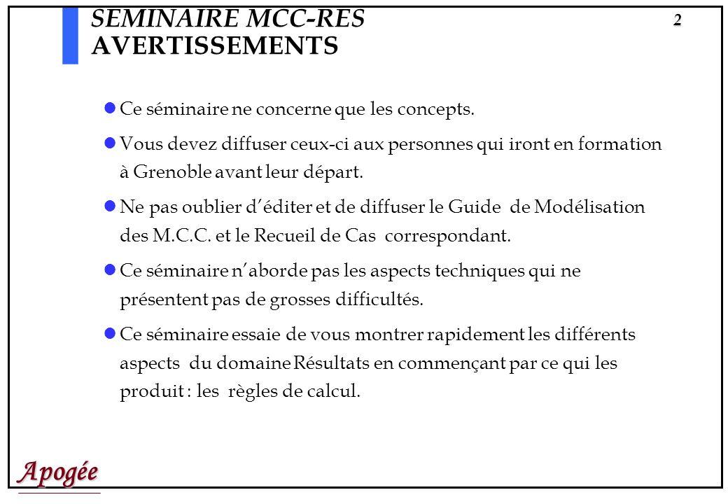 SEMINAIRE MCC-RES AVERTISSEMENTS