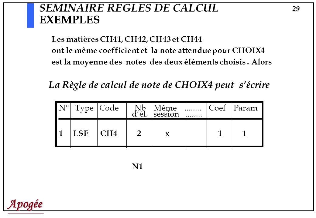 SEMINAIRE REGLES DE CALCUL EXEMPLES