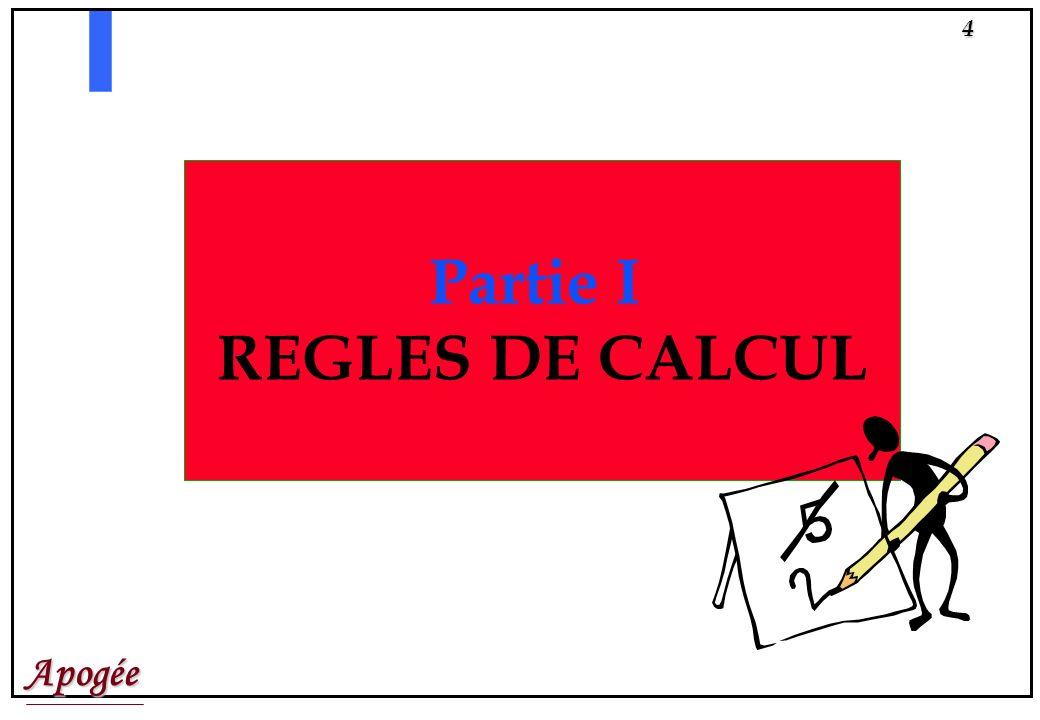 Partie I REGLES DE CALCUL