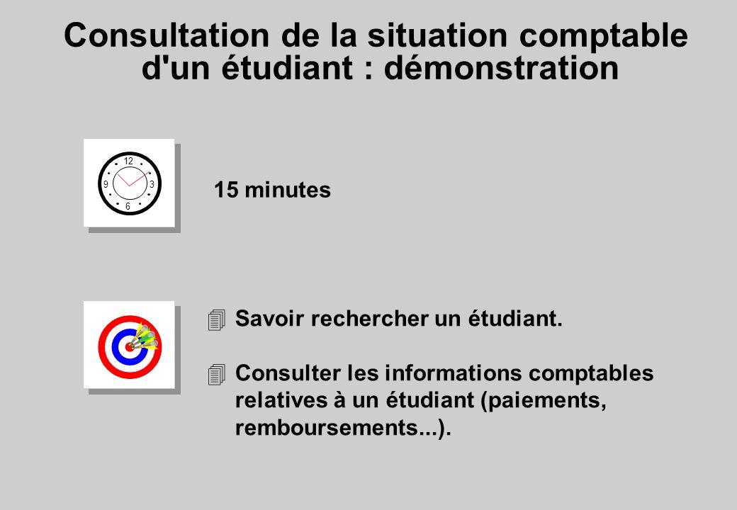 Consultation de la situation comptable d un étudiant : démonstration