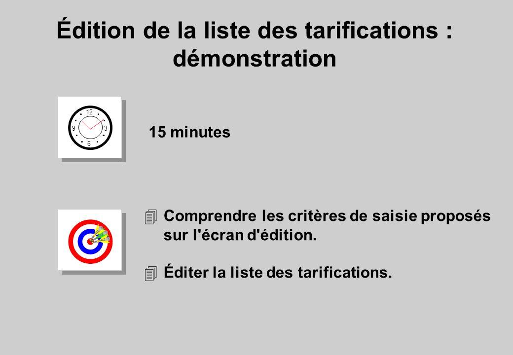 Édition de la liste des tarifications : démonstration