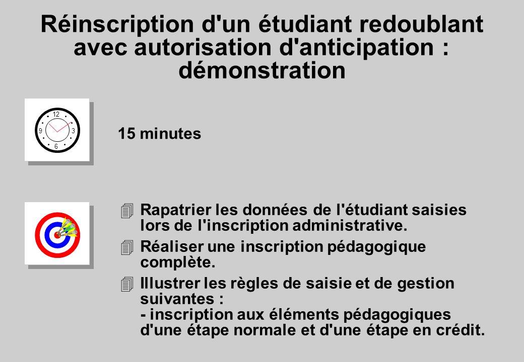 Réinscription d un étudiant redoublant avec autorisation d anticipation : démonstration